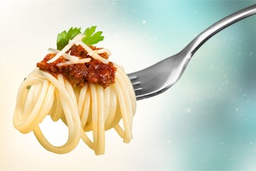 Fork with just spaghetti around it on Wall mural