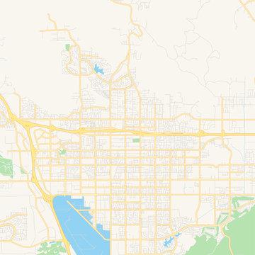 Empty vector map of Moreno Valley, California, USA