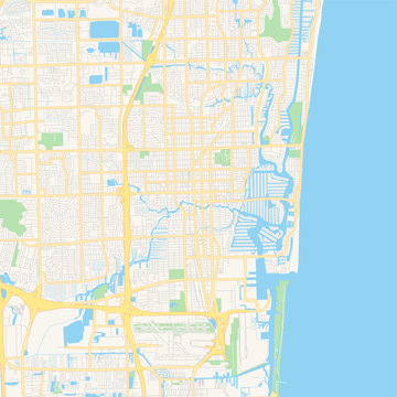 Empty vector map of Fort Lauderdale, Florida, USA