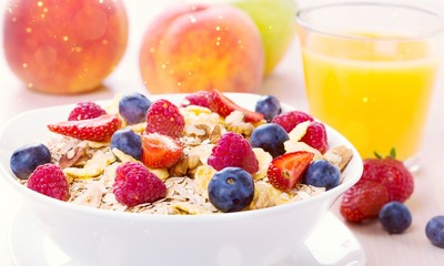 Delicious oat flakes with berries, close-up