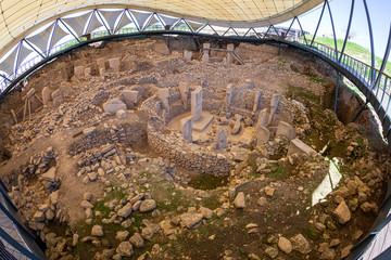 "Gobekli Tepe Turkish for ""Potbelly Hill"", is an archaeological site in the Southeastern Anatolia. 12 thousand years ago. Gobeklitepe archaeological site Sanliurfa/Turkey."