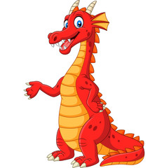 Cartoon happy red dragon presenting