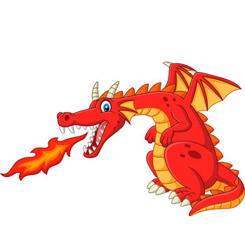 Cartoon red dragon spitting fire