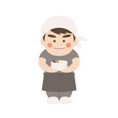 男性キャラクターラーメン店員