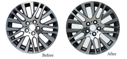 Alloy wheel repair ,Repairing alloy wheels with metal shadows, before repairing and after repairing Wall mural