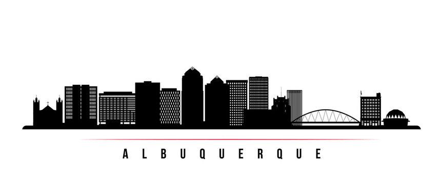 Albuquerque city skyline horizontal banner. Black and white silhouette of Albuquerque city, USA. Vector template for your design.