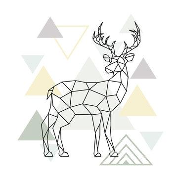 Abstract scandinavian geometric deer. Polygonal reindeer. Side view. Vector illustration.