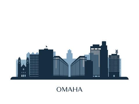 Omaha skyline, monochrome silhouette. Vector illustration.