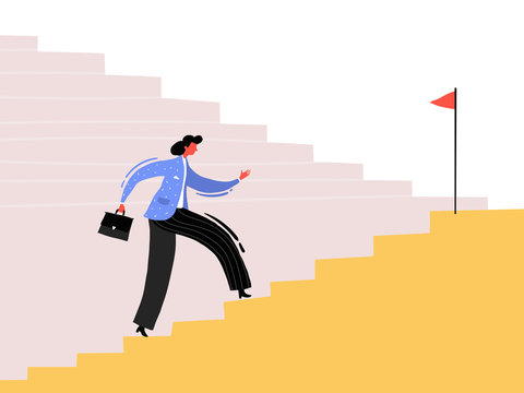 Businessman business woman rising up the stairs of the career. Business concept