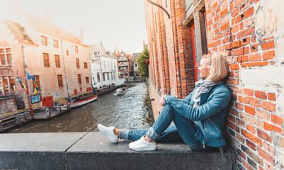 Woman tourist in Bruges. Country Sightseeing, Travel to Belgium Fototapete