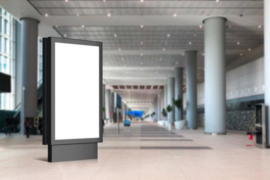 Empty Blank Billboard for Advertisement Mockup Indoor of Airport
