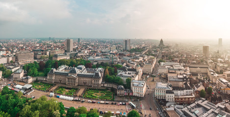 Foto op Canvas Brussel Panoramic aerial view of the Royal Palace Brussels, Belgium