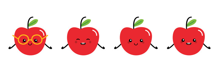 Set, collection of cute and smiling cartoon style apple characters for cooking, healthy and vegan lifestyle design.