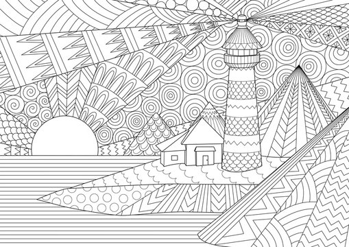 Coloring Page. Coloring Book for adults. Editable stroke width drawing. Colouring pictures of light house among mountains,sunburst ocean and seawave. Antistress freehand sketch drawing with doodle and