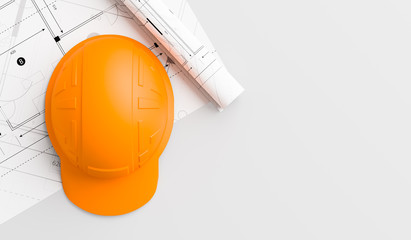 Orange or brown safety helmet on wooden table with blueprints. Safety helmet for welders and workers with high heat application. 3D illustration.