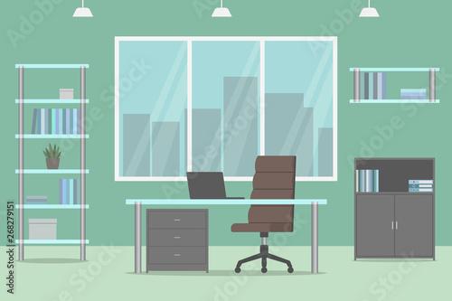 Home office design  Green wall  Vector illustration