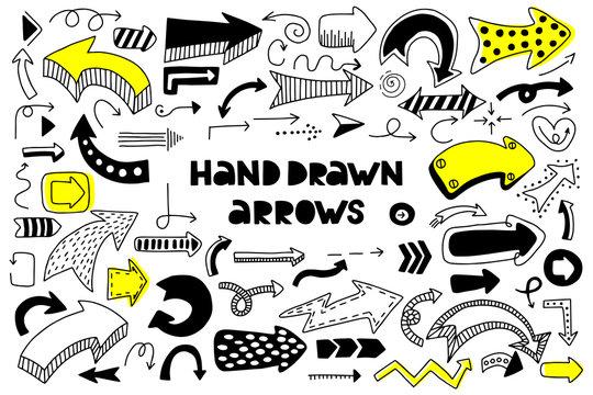 Big set of hand drawn arrows. Doodle arrows.