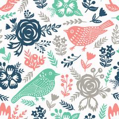 Bird and flowers seamless pattern. Vector illustration.