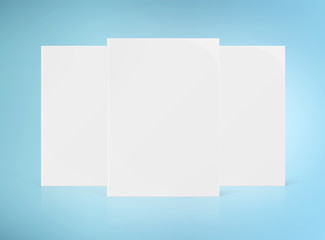 Three blank A4 book hardcover mockup isolated on white 3D rendering Wall mural