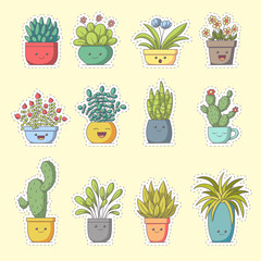 Plants sticker. Set of cute cartoon characters. Vector collection for stickers, patches, badges, pins. Hand drawn style doodle.
