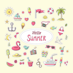 Summer sticker. Set of cute cartoon characters. Vector collection for stickers, patches, badges, pins. Hand drawn style doodle.