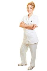 Lächelnde Frau vom ambulanten Pflegedienst