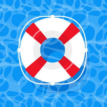 summer holiday illustration with lifebouy. rubber ring floating on water. aqua textured background. Banner, poster template. Shining blue water ripple abstract vector. Shimmering tropical water