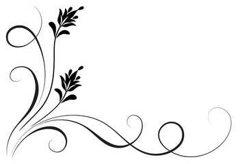 Decorative floral corner ornament for stencil isolated on white background Wall mural
