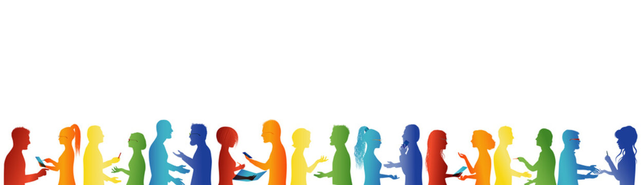 Community. Crowd talking. Association or meeting organization. Large group of people talking. Partnership concept. Formation. Unity and teamwork cooperation. Business people. Rainbow colors silhouette