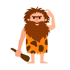 Primitive man thinking, confused, embarrassed. Caveman with club in hand has a question. Cartoon vector illustration.