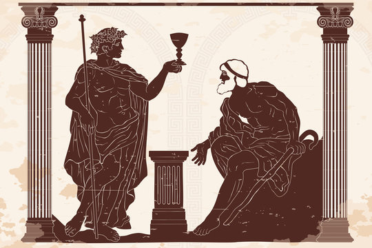 The ancient Greek god of wine Dionysus with a glass in his hands and the old man with a staff engaged in a dialogue in the temple between two columns.