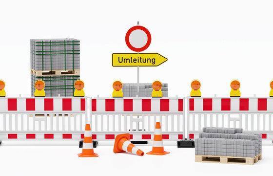 Baustelle - Straßensperrung, Pylone Leitkegel stehen davor, Schild Durchfahrt verboten und Umleitung stehen dahinter - im Hintergrund und Vordergrund Europalette mit Pflaster H-Verbund - freigestellt