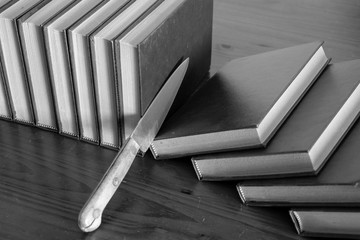 cutting slices of books