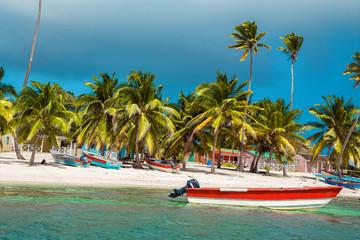 Wall Murals Caribbean Dominican Republic, Saona Island - Mano Juan Beach. Fishermen's village