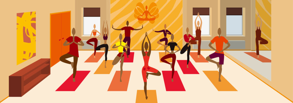 Yoga class tree pose variations banner/ Illustration a yoga studio room. Instructor is leading people from beginner to advanced level
