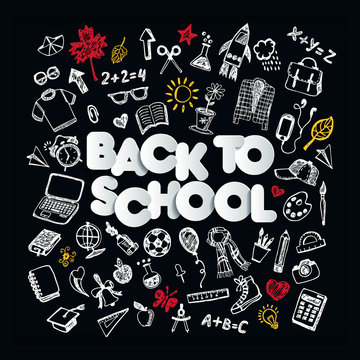 Back to school. Chalkboard doodle set. Freehand drawing - Vector with lettering
