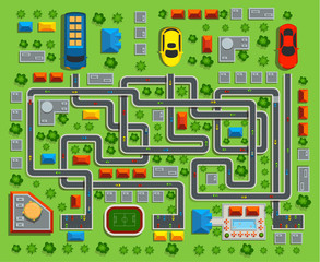 Of the city top view. Child game maze.Vector illustration.
