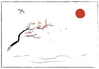 The asian theme of nature, Japanese and Chinese element - plum blossom with bird, a sign for wind spring - Illustration. Isolated stroke element