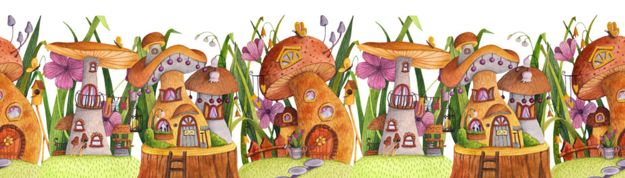 Seamless border. Street of mushroom houses with grass, flowers, butterfly, nesting box, fence, banner and well. Watercolor and colored pencil illustration.