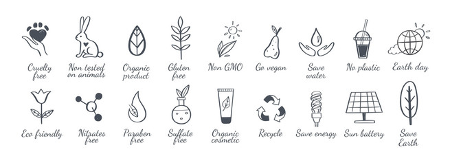 Eco friendly, ecology vector hand drawn icons set. Organic cosmetics, zero waste, save earth and healthy lifestyle sign Wall mural