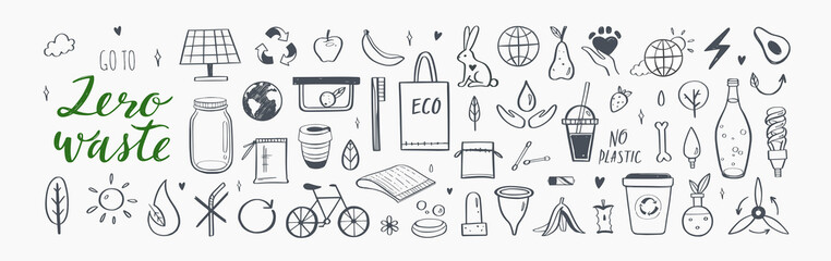 Fototapeta Zero waste vector hand drawn infographic set.Collection of eco and natural elements. Go green concept. Isolated objects obraz