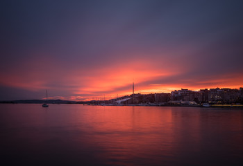 Sunset overs Oslo's Waterfront