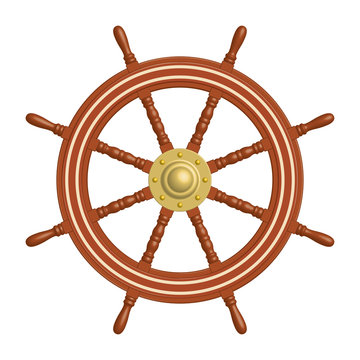 Wooden ship wheel with brass cap. 3D effect. Vector illustration