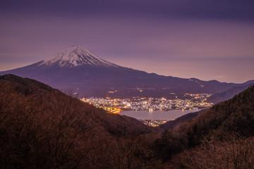 Mt. Fuji and Kawaguchiko lake at night