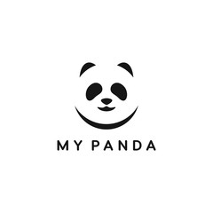 panda face negative space vector logo design