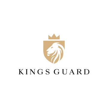 lion king shield guard vector logo design