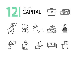 Capital icons. Line icons collection on white background. Piggy bank, investment, earning. Money concept. Vector illustration can be used for topic like business, finance, banking
