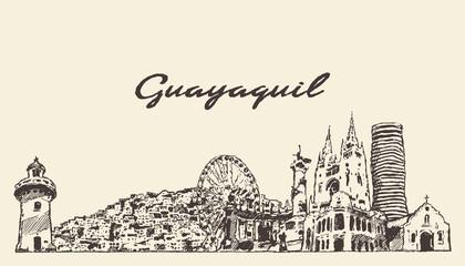 Fototapete - Guayaquil skyline Ecuador hand drawn vector sketch