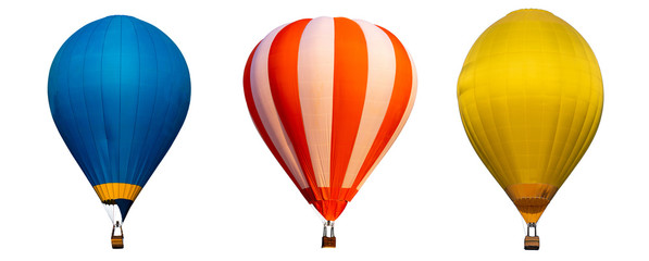 Foto op Plexiglas Ballon Isolated photo of hot air balloon isolated on white background.