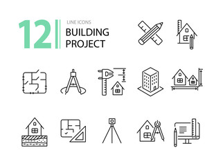 Building project line icon set. Floor plan, layout, compass, ruler. Architecture concept. Can be used for topics like engineering, measurement, construction